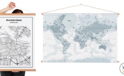 Wereldkaarten oude schoolplaat