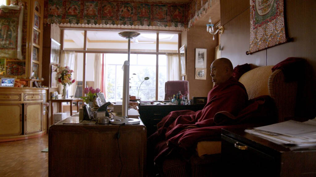 His Holiness The Dalai Lama meditating at dawn in his private meditation room in Dharamsala India - photo credit Lemle Pictures